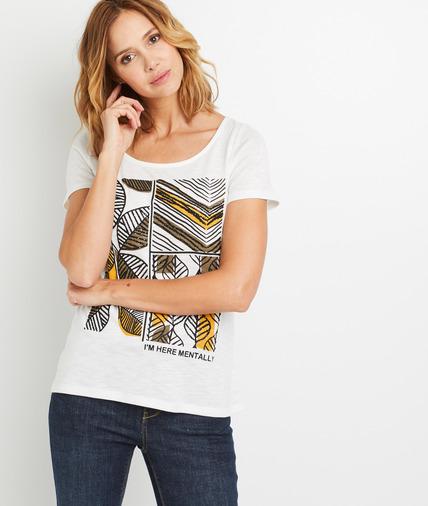 T-shirt écru print ethnique femme ECRU