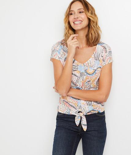 T-shirt imprimé coloré noué femme ECRU