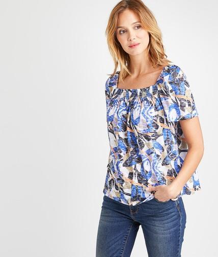 T-shirt imprimé manches ballons femme VIOLET