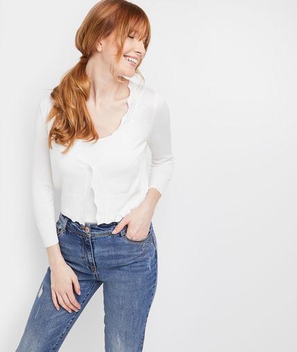 Gilet court blanc boutonné femme BLANC