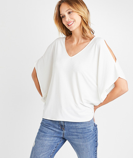 T-shirt ample fendu aux épaules femme ECRU