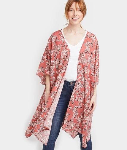 Long kimono imprimé femme CORAIL