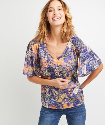 T-shirt bleu imprimé feuillages femme BLEU