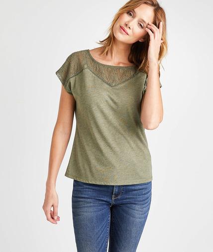 T-shirt uni avec résille brodée femme KAKI