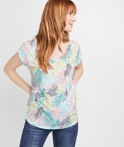T-shirt imprimé palmes colorées femme BLANC