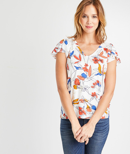 T-shirt à fleurs rouges et bleues femme ECRU
