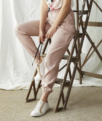 Pantalon rose élastiqué femme ROSE