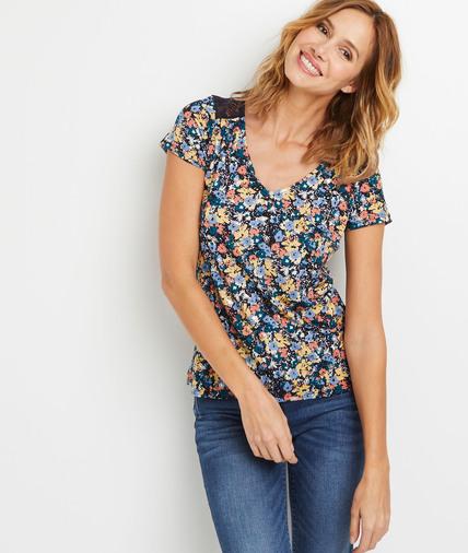 T-shirt imprimé fleuri à dentelle femme MARINE