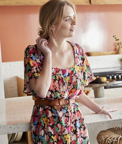 Robe fleurie multicolore femme MULTICOLORE
