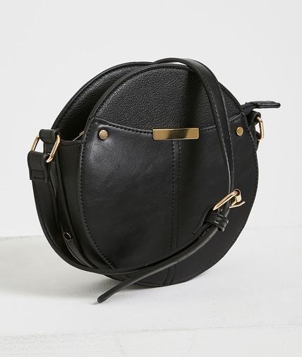 Petit sac rond zippé à bandoulière femme NOIR
