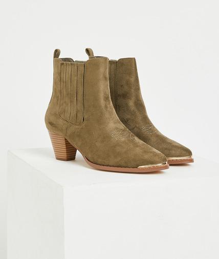 Boots esprit cowboy kaki femme TAUPE