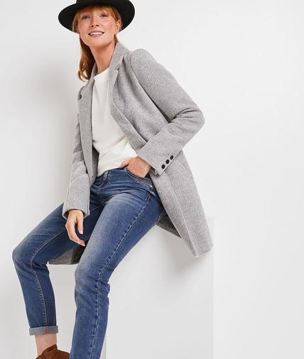 Manteau lainage uni femme GRIS