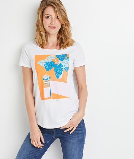 T-shirt blanc print placé femme BLANC