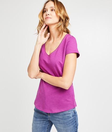 T-shirt basique uni en coton femme PIVOINE
