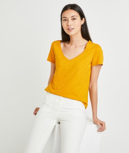 T-shirt basique uni en coton femme SAFRAN