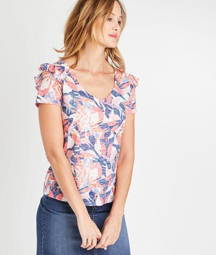 T-shirt imprimé coloré à volants femme BLANC