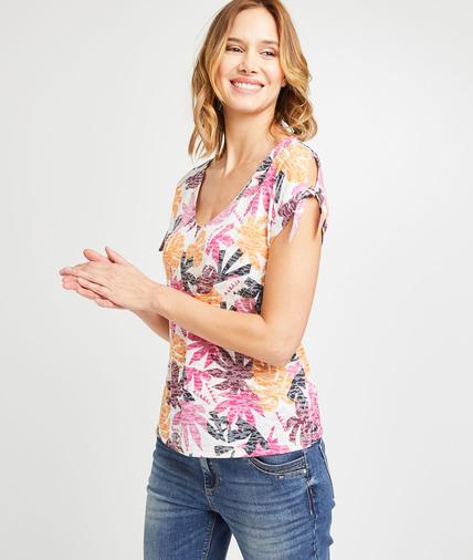 T-shirt imprimé tropical femme BLANC