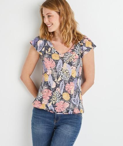 T-shirt imprimé feuillages colorés femme MARINE