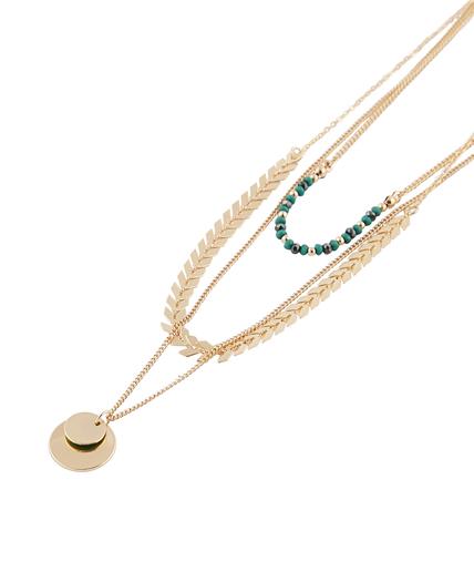 Collier 3 rangs perles de verre VERT