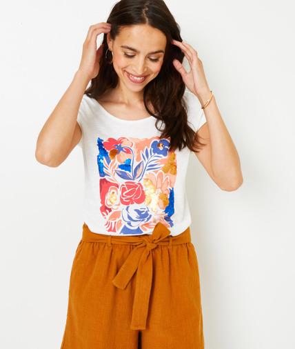 T-shirt écru motif fleurs femme ECRU