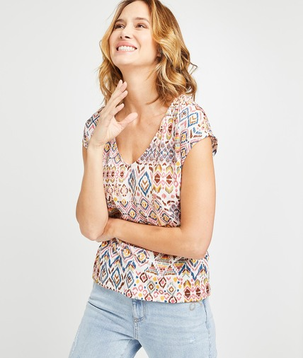 T-shirt imprimé ethnique femme ROSE