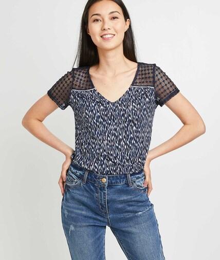 T-shirt manches courtes dentelle femme MARINE