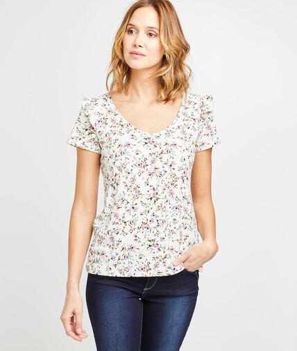 T-shirt à volants imprimé fleuri femme CREME