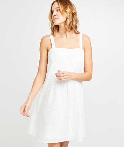 Robe en gaze de coton blanche femme ECRU