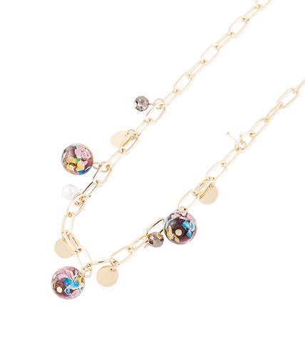 Collier chaîne et perles de verre Murano VIOLET