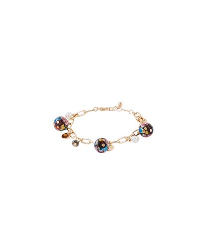 Bracelet chaîne et perles de verre VIOLET