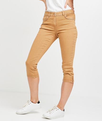 Corsaire en jean de couleur femme CAMEL