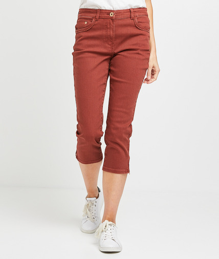 Corsaire en jean de couleur femme PIMENT