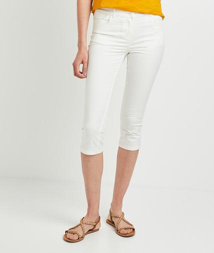 Corsaire en coton stretch blanc femme BLANC OPTIQUE