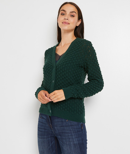 Gilet tricoté femme VERT