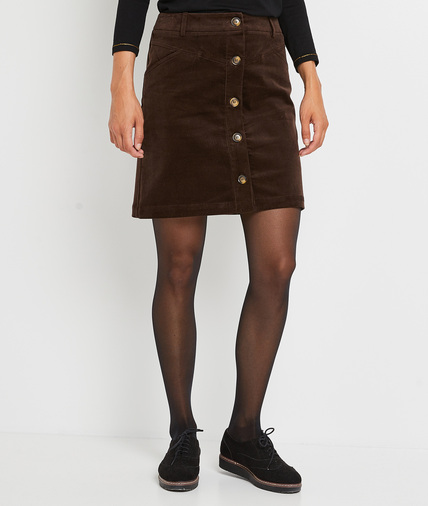 Jupe trapèze en velours marron femme CAFE