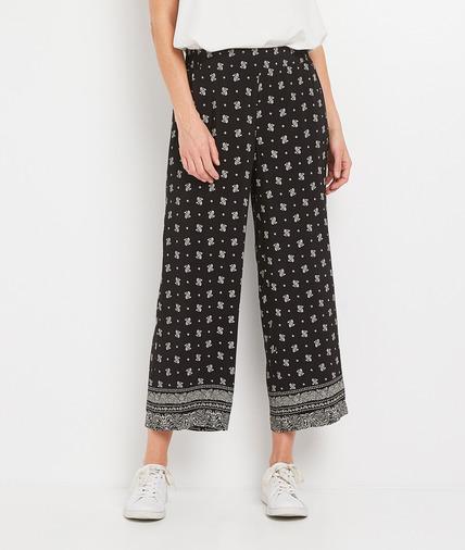 Pantalon large imprimé et fluide femme NOIR