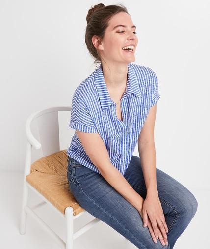 T-shirt rayé noué femme BLEU