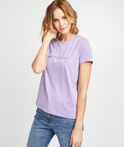 T-shirt uni parme à message femme PARME