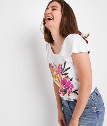 T-shirt écru à fleurs femme ECRU