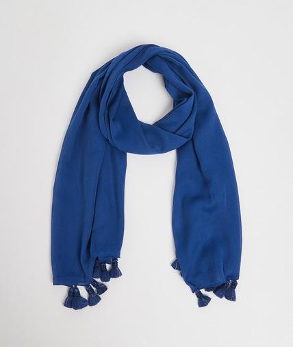 Foulard bleu à pompons perlés femme MARINE