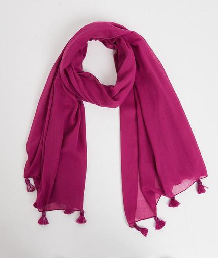 Foulard violet à pompons perlés femme ORCHIDEE