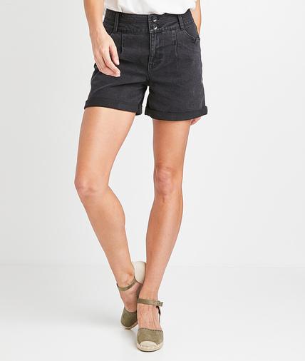 Short boutonné en jean noir femme BLACK WASHED
