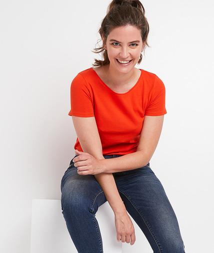 T-shirt uni basique en coton femme ORANGE