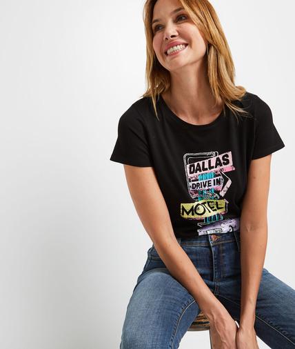 T-shirt noir print inspiration USA femme NOIR