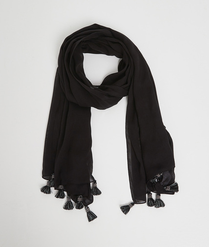 Foulard noir à pompons perlés femme NOIR