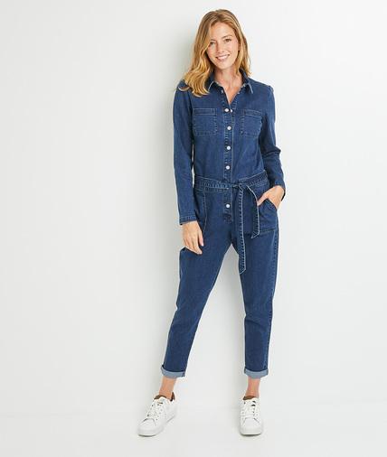 Combinaison pantalon en jean femme DARK STONE