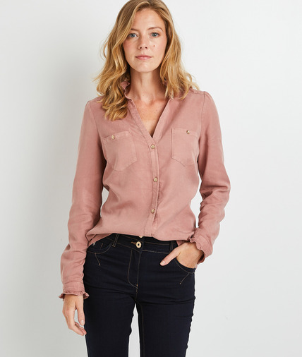 Chemise une en lyocelle femme ROSE
