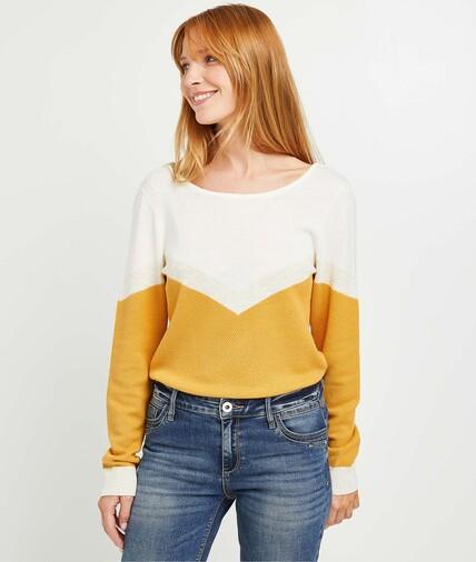 Pull tricot fantaisie color block femme SAFRAN