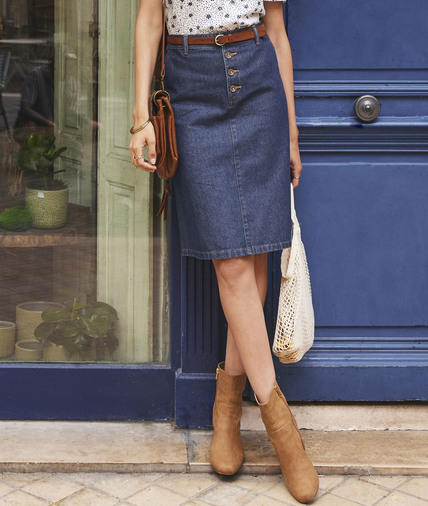 Jupe en jean mi-longue boutonnée femme RINSE