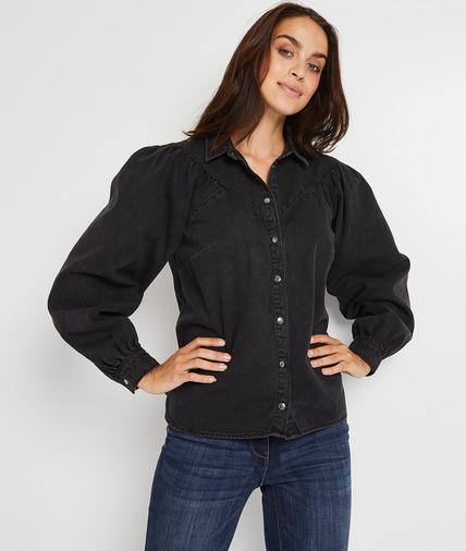 Chemise en jean noir femme NOIR